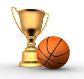 Basketball ball. 3d render illustration of a golden trophy with a basketball ball Royalty Free Stock Images