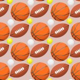 Basketball ball activity leisure sport seamless pattern background team game orange rubber athletic equipment. vector Royalty Free Stock Image