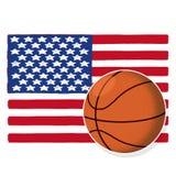 Basketball ball with American flag Stock Photo