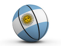 Basketball ball Argentina flag. On a white background. 3D illustration Royalty Free Stock Photo