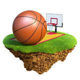 Basketball ball, backboard, hoop and court based o. Concept for Basketball team or competition design. Tiny island / planet collection Royalty Free Stock Photo