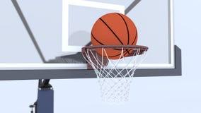 Basketball ball and basket. 3d Basketball ball and basket Stock Photography