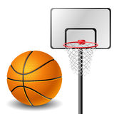 Basketball ball and basket Royalty Free Stock Photos