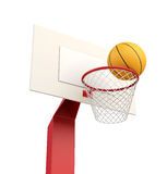 Basketball ball in basket  on white background. 3d rende Royalty Free Stock Photos