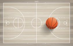 Basketball ball on basketball field background. Vector. stock illustration
