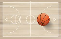 Basketball ball on basketball field with line court area. Vector. Basketball ball on basketball field background with line court area. Vector illustration royalty free illustration