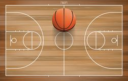 Basketball ball on basketball field with line court area. Vector. stock illustration