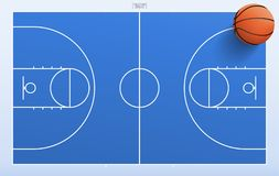 Basketball ball on blue basketball field background. stock illustration