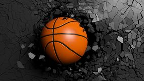 Basketball ball breaking forcibly through a black wall. 3d illustration. Sports concept. Basketball ball breaking with great force through a black wall. 3d Royalty Free Stock Images