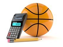 Basketball ball with calculator and pencil. Isolated on white background. 3d illustration Royalty Free Stock Photos