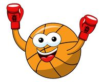 Basketball ball cartoon funny character boxer winner gloves isolated. On white royalty free illustration