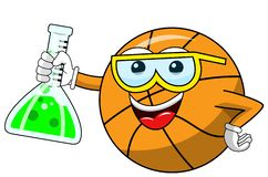 Basketball ball cartoon funny character chemist cruet isolated. On white vector illustration