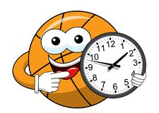 Basketball ball cartoon funny character clock time isolated. On white royalty free illustration
