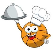 Basketball ball cartoon funny character cook serving tray food isolated. On white vector illustration