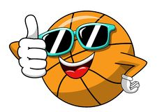 Basketball ball cartoon funny character cool sunglasses thumb up like isolated. On white stock illustration