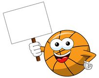 Basketball ball cartoon funny character copy space blank banner isolated. On white royalty free illustration