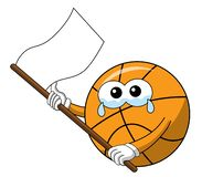 Basketball ball cartoon funny character crying white flag waving sad isolated. On white royalty free illustration