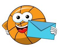 Basketball ball cartoon funny character envelope mail isolated. On white royalty free illustration