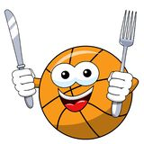 Basketball ball cartoon funny character fork knife hungry isolated. On white stock illustration
