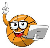 Basketball ball cartoon funny character laptop technology nerd isolated. On white royalty free illustration