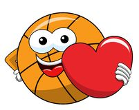 Basketball ball cartoon funny character love heart isolated. On white stock illustration