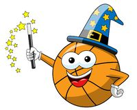 Basketball ball cartoon funny character magician magic spell isolated. On white royalty free illustration