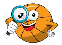 Basketball ball cartoon funny character magnifying lens isolated. On white stock illustration