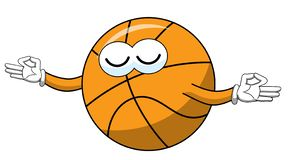 Basketball ball cartoon funny character meditating isolated. On white royalty free illustration