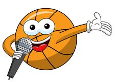 Basketball ball cartoon funny character microphone presenter isolated. On white royalty free illustration