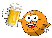 Basketball ball cartoon funny character mug beer celebration isolated. On white stock illustration