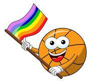 Basketball ball cartoon funny character multicolor rainbow peace flag isolated. On white stock illustration