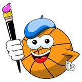 Basketball ball cartoon funny character painter brush isolated. On white stock illustration