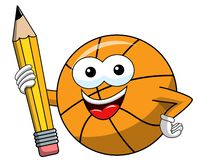 Basketball ball cartoon funny character pencil drawing isolated. On white vector illustration