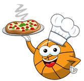 Basketball ball cartoon funny character pizza cook serving isolated. On white royalty free illustration