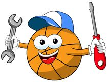 Basketball ball cartoon funny character plumber tools fixing isolated. On white royalty free illustration