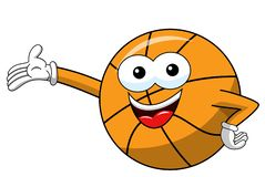 Basketball ball cartoon funny character presenting showing isolated. On white stock illustration