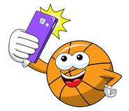 Basketball ball cartoon funny character selfie shot smartphone isolated. On white stock illustration