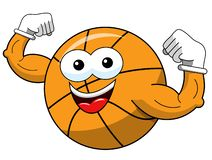 Basketball ball cartoon funny character showing biceps isolated. On white stock illustration