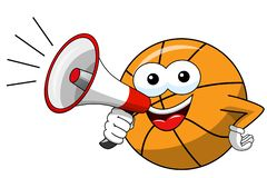 Basketball ball cartoon funny character speaking megaphone isolated. On white royalty free illustration