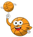 Basketball ball cartoon funny character spinning balance ball isolated. On white vector illustration