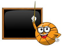 Basketball ball cartoon funny character teacher blackboard or chalkboard stick class copyspace isolated. On white stock illustration