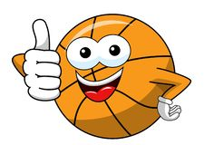 Basketball ball cartoon funny character thumb up like isolated. On white vector illustration