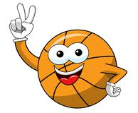 Basketball ball cartoon funny character victory hand sign isolated. On white royalty free illustration