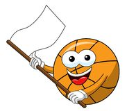 Basketball ball cartoon funny character white flag waving isolated. Basketball ball cartoon funny character isolated on white vector illustration