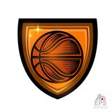 Basketball ball in center of shield. Sport logo for any team or competition isolated. On white vector illustration