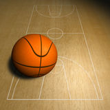 Basketball ball and court Stock Image