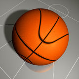 Basketball ball and court Royalty Free Stock Photo