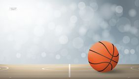 Basketball ball on basketball court area with light blurred bokeh background. vector illustration
