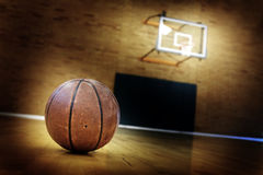 Basketball on Ball Court for Competition and Sports Royalty Free Stock Photography