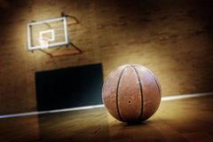 Basketball on Ball Court for Competition and Sports Stock Photos